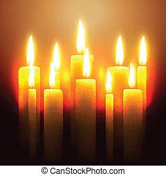 vettore, ardendo, candela
