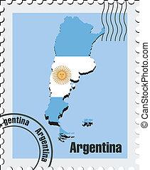 vettore, argentina, francobollo