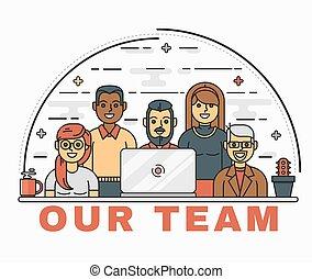 vettore, art linea, illustrazione, di, uno, squadra affari