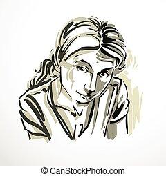 vettore, arte, disegno, ritratto, di, diffidente, ragazza,...