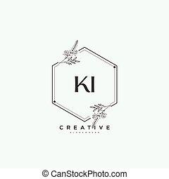 vettore, arte, logotipo, ditta, bellezza, creativo, firma, business., jewerly, floreale, sagoma, qualsiasi, boutique, iniziale, o, scrittura, botanico, ki, moda, matrimonio