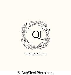 vettore, arte, logotipo, ditta, qi, bellezza, creativo, firma, business., jewerly, floreale, sagoma, qualsiasi, boutique, iniziale, o, scrittura, botanico, moda, matrimonio