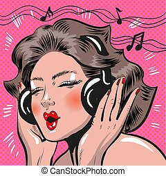 vettore, arte popolare, illustrazione, di, donna, ascoltando musica