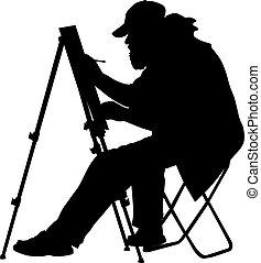 vettore, artista, illustr, lavoro, silhouette, fondo, bianco