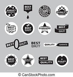 vettore, assicurazione qualità, collezione, icone
