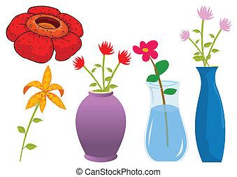 vettore, assortito, fiore, illustrazione, natura