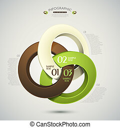 vettore, astratto, 3d, anelli, infographics