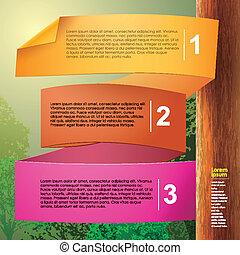 vettore, astratto, carta, 3d, infographics