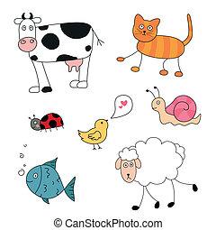 vettore, astratto, cartone animato, animali