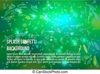 vettore, astratto, fondo, con, schizzo, e, brillare, in, verde, colorare