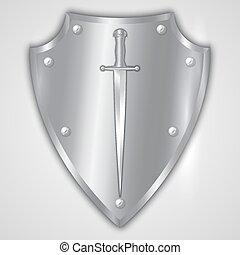 vettore, astratto, illustrazione, di, acciaio inossidabile, scudo