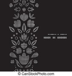 vettore, astratto, nero, laccio, ornamentale, tulips, tessile, verticale, cornice, seamless, modello, fondo