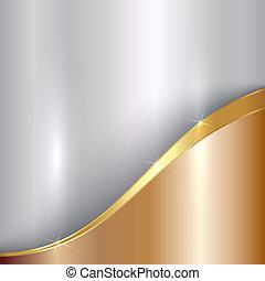 vettore, astratto, prezioso, metallico, fondo, con, curva