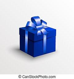 vettore, astratto, scatola regalo, con, nastro blu