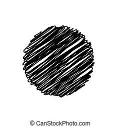 vettore, astratto, sketchy, fondo, nero, disegno, cerchio, scarabocchio