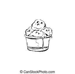 vettore, astratto, tazza, palle, schizzo, mano, ghiaccio, disegnato, grafico, illustrazione, bianco, crema, isolato, inchiostro, icona, fondo