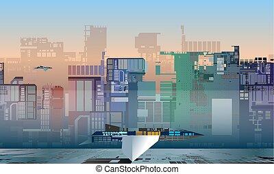 vettore, astronave, futuro, industriale, illustrazione, colorito, fantascienza, città