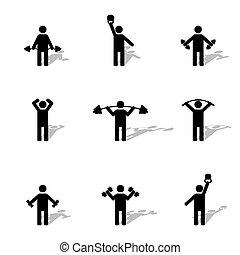 vettore, atleta, silhouette, set