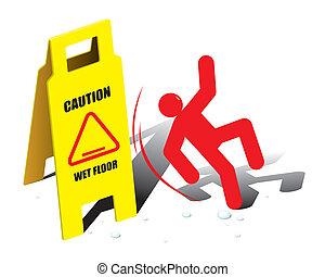 vettore, attenzione, pavimento, segno, bagnato