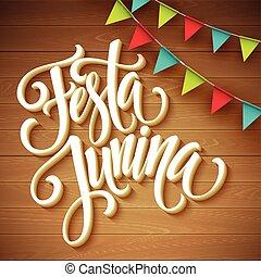 vettore, augurio, festa, junina, design., illustrazione, festa