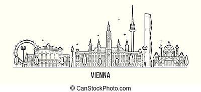 vettore, austria, costruzione grande, città, vienna, orizzonte
