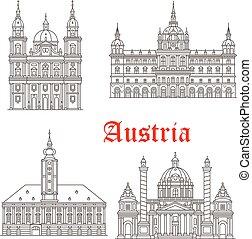 vettore, austria, costruzioni, icone, architettura