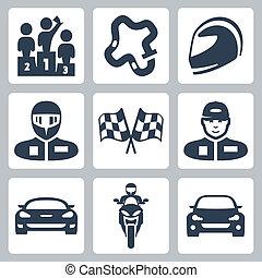 vettore, automobile, bandiera, pista, berretto, piattaforma girevole, macchina corsa, podio, rally, motocicletta, da corsa, icons:, casco