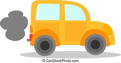 vettore, automobile, bianco, fondo., illustrazione, giallo