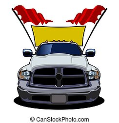 vettore, automobile, cartone animato