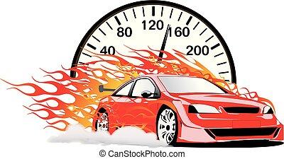 vettore, automobile, fiammeggiante, velocimetro, rosso