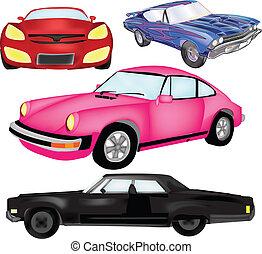 vettore, automobile, grafico, set, fresco