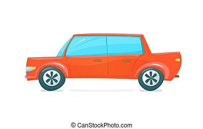 vettore, automobile, illustrazione, rosso
