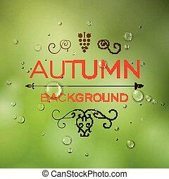 vettore, autunno, disegno