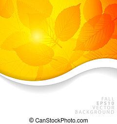 vettore, autunno, giallo, astratto, floreale, fondo