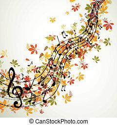 vettore, autunno, musica, fondo, con, note