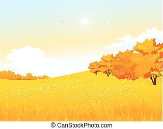 vettore, autunno, paesaggio rurale, con, prato, e, foresta
