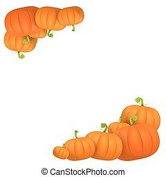 vettore, autunno, zucche, disegno, sagoma, bordo