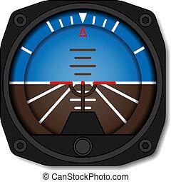 vettore, aviazione, aeroplano, atteggiamento, indicatore, -, artificiale, giroscopio, orizzonte