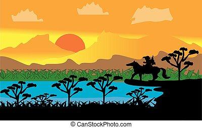 vettore, avventura, paesaggio, cowboy