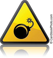vettore, avvertimento, bomba, segno
