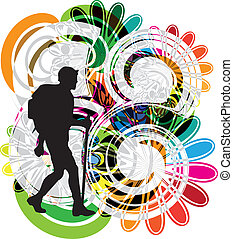 vettore, backpacker., illustrazione