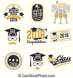 vettore, badge., classe, 2018