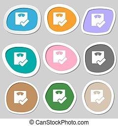 vettore, bagno, symbols., scale, variopinto, carta, stickers., icona
