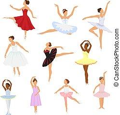 vettore, ballerina, balletto, donna, ballet-skirt, classico, ballo, ballerino, carattere, isolato, illustrazione, ballet-dancer, set, fondo, ragazza, tutu, bianco