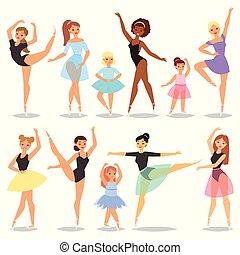 vettore, ballerina, balletto, set, ballet-skirt, classico, ballo, o, carattere, donna, illustrazione, isolato, ballet-dancer, ballerino, fondo, bianco, tutu, ragazza