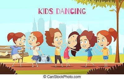 vettore, ballo, illustrazione, bambini