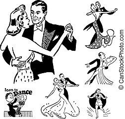 vettore, ballo, retro, sala ballo, grafica