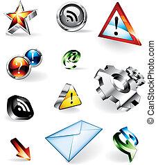 vettore, baluginante, 3d, icone