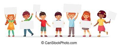 vettore, bambini, banners., ragazza, ragazzo, presa a terra