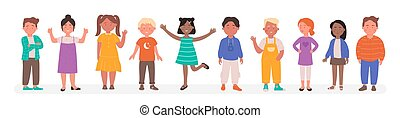 vettore, bambino, piccolo, cartone animato, caratteri, corsa, appartamento, gruppo, diverso, illustrazione, ragazzo, standing, linea, sorridente, felice, bambini, ragazza, scuola, insieme, differente